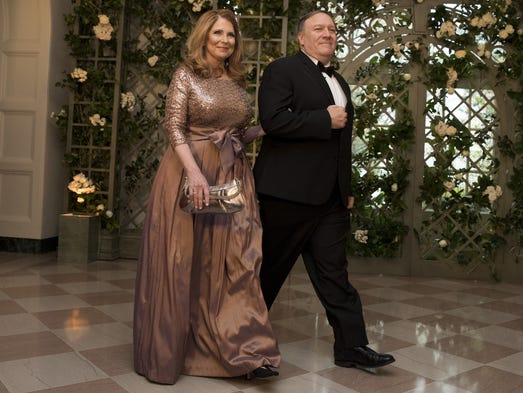 CIA Director Mike Pompeo and his wife Susan arrive