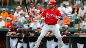 Philadelphia Phillies first baseman Brock Stassi hits against the Baltimore Orioles March 13 at Ed Smith Stadium. Stassi is fighting to win one of the two bench jobs on the Phillies.