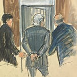 An illustration of Bernard Madoff going to jail following a plea on March 12, 2009. The image is featured in the Thomas V. Girardi Collection of Courtroom Illustration Drawings  at the Library of Congress.