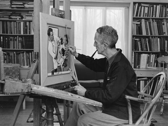Norman Rockwell at work in the 1950s.
