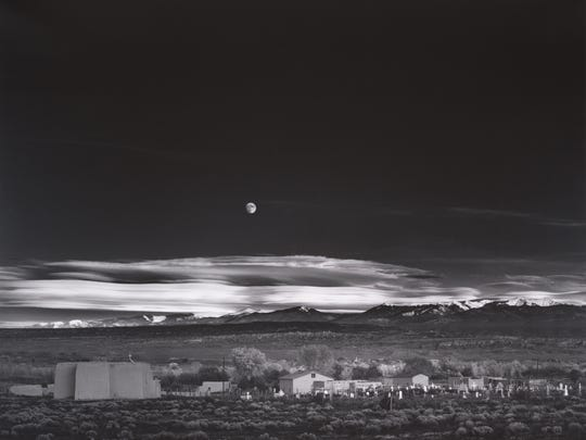Moonrise, Hernandez, New Mexico, 1941.  Photograph by Ansel  Adams. Image courtesy  of  Collection Center for Creative Photography,  University of Arizona.  ©The  Ansel  Adams  Publishing  Rights  Trust