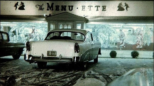 Menu-Ette Restaurant Winter Scene at 3312 East Market Street, Springettsbury Township, York County, PA (1963 Photo submitted by Cliff Satterthwaite)