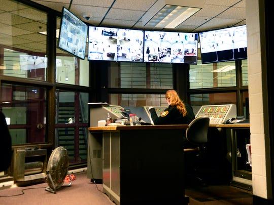 Cameras monitor the Sandusky County Jail.