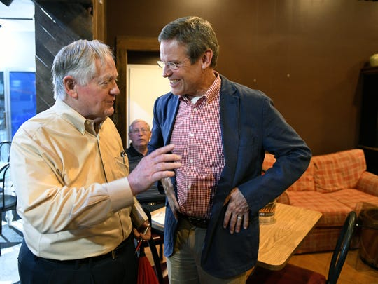 Victor Ashe talks to Bill Lee after a town hall meeting June 28, 2018, at SoKno Market in South Knoxville.