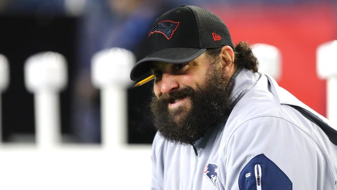 Patriots defensive coodinator Matt Patricia sits before the AFC Divisional Playoff game against the Titans at Gillette Stadium on Jan. 13, 2018.