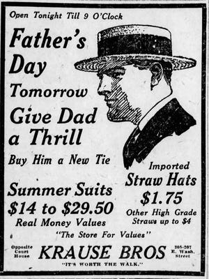 A 1924 advertisement touted straw hats for Dad at Krause Bros.