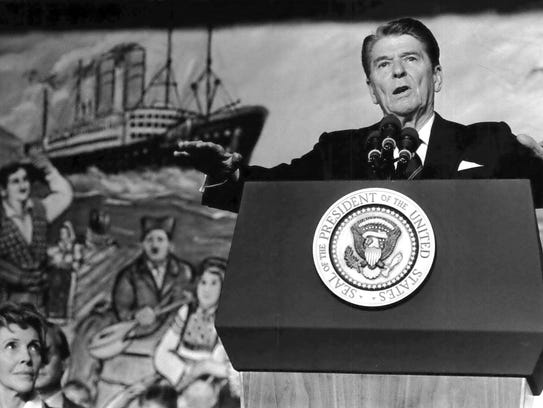 President Ronald Reagan addresses the crowd at a rally
