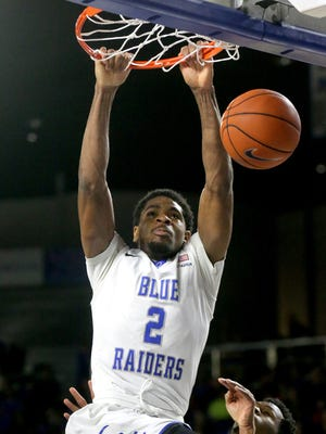 MTSU's Perrin Buford (2) had a huge night at in Boca Raton on Thursday.