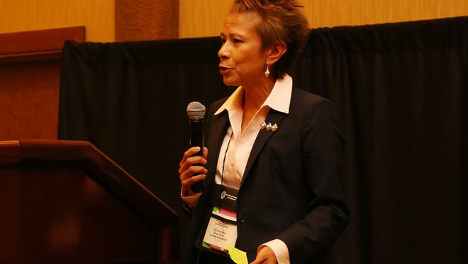 Crystal J. Deschinny speaks at a meeting in October 2016 at the Twin Arrows Casino and Resort near Flagstaff, Ariz. Deschinny stepped down as the director of the Navajo Nation Division of Economic Development on Tuesday.