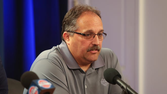 Detroit Pistons coach Stan Van Gundy talks with reporters July 8, 2016, at the Palace of Auburn Hills.