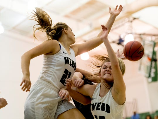 Webb's Bailey Musrock (21) and Casey Collier (14) collide