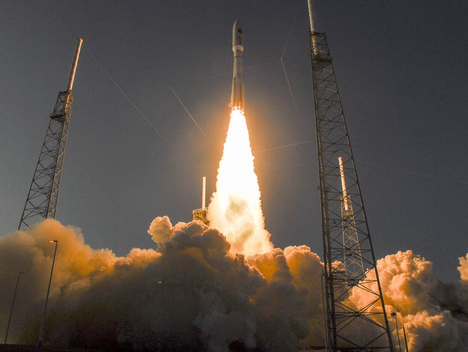 A United Launch Alliance Atlas V rocket blasts off