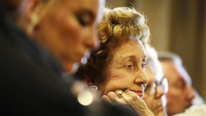 Pat Marshall, 85, listens to closing arguments in her sister's murder trial Thursday.