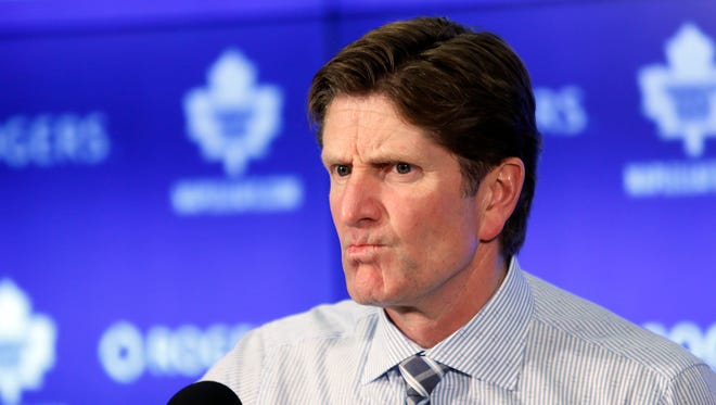 Nov 4, 2015; Toronto Maple Leafs head coach Mike Babcock during the post game media conference after loss to the Winnipeg Jets at Air Canada Centre.