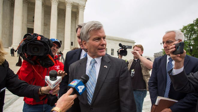 Former Virginia governor Robert McDonnell leaves the Supreme Court after oral arguments in his federal corruption case.