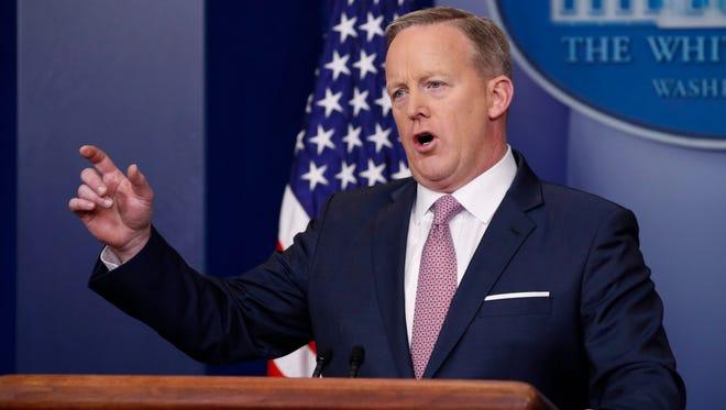 White House press secretary Sean Spicer speaks in the briefing room on Jan. 23, 2017.