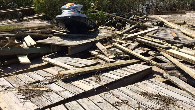 Remnants of Randy and Leonor Leibler's dock in Indian River Shores.