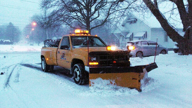 A South Lebanon Township plow makes it way on East High Street just off Rt. 897 in South Lebanon Township in this file photo.