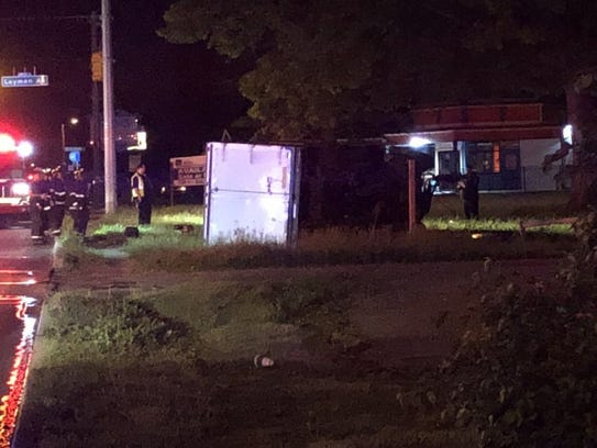 A driver died after a box truck crashed about 2:30
