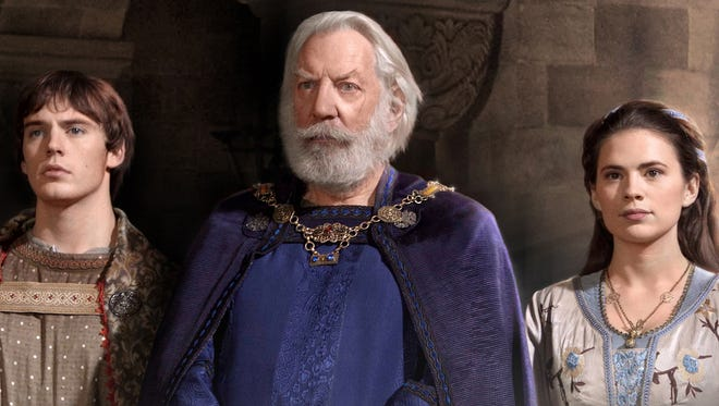 Sam Clafin as Richard, Donald Sutherland as Bartholomew and Hayley Atwell as Aliena in 'The Pillars of the Earth' mini-series.