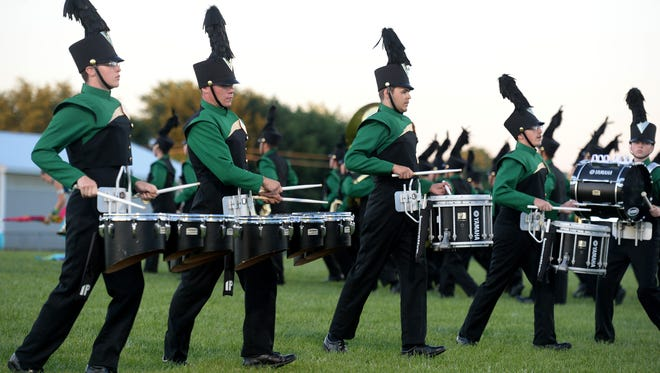 The Northeastern High School marching band competes Saturday, July 16, 2016 in the Archway Classic Marching Band Contest in Centerville.