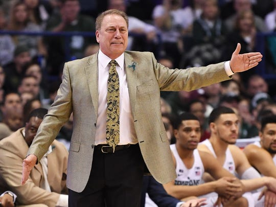 Michigan State coach Tom Izzo reacts during the first