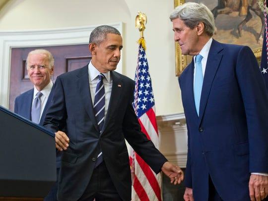 President Barack Obama walks away from the podium,