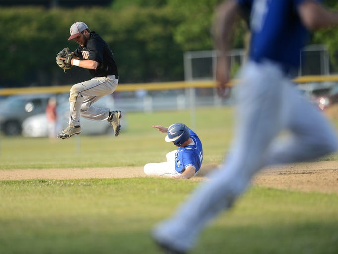 Nandua's Curtis Ormsby leaps off of second base after getting a force out off a ground ball during the Warriors' 2A East Regional Semifinal game against Madison County. Madison County won the game 9-6 in eight innings of play.