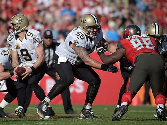 """Jonathan Goodwin (55), now with the Saints, was with the 49ers when Tim Drevno coached there. """"You can tell he really loves his job and what he's doing and improving guys,"""" he said of Drevno."""