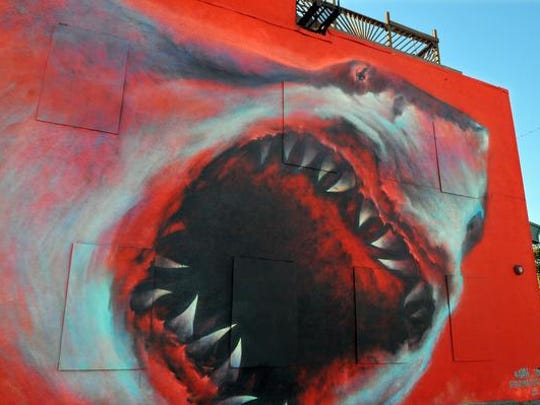 Los Angeles artist Shark Toof painted this mural on