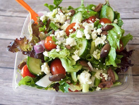 The Greek salad from Salad and Go, a locally owned healthful fast-food chain.