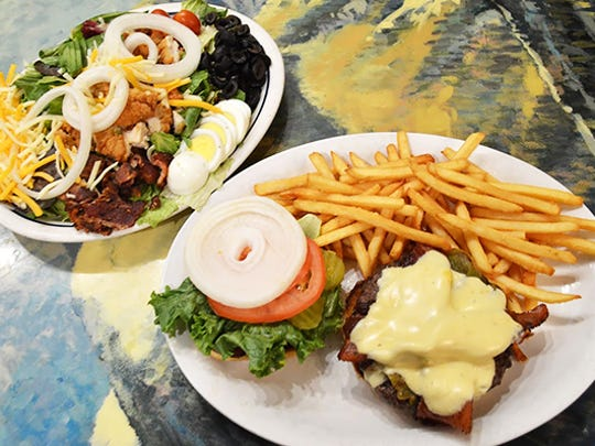 The southwest burger at Lone Spur Cafe.