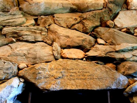 Fred Seely, designer of the Omni Grove Park Inn and the son-in-law of developer E.W. Grove, is responsible for the inspirational words on the large stones around the inn's fireplaces.