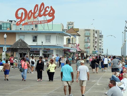 Visitors pack the boardwalk in Rehoboth Beach on Labor