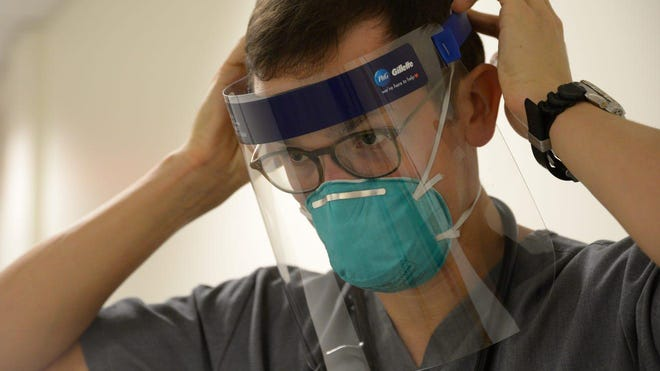 Procter & Gamble has launched into producing face shields for front-line medical workers as part of its efforts to curtail the spread of the new coronavirus. This is the Boston model, which is for single-use and uses a closed cell foam.