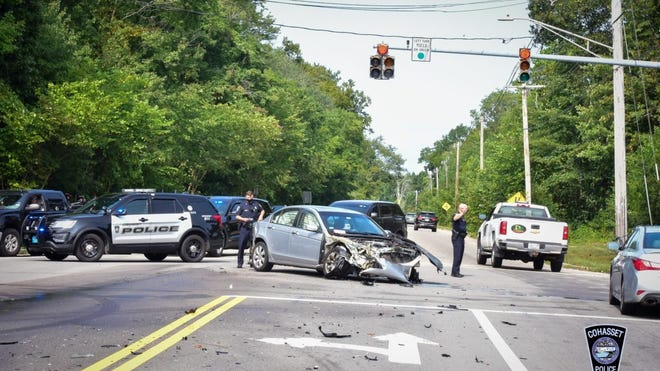 Cohasset Police are on scene of a crash between a motor vehicle and a tractor trailer that resulted in a fuel spill on Route 3A.