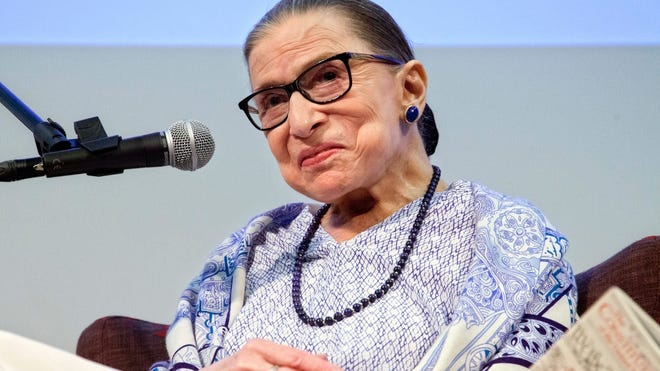 """FILE - US Supreme Court Justice Ruth Bader Ginsburg speaks after the screening of """"RBG"""" the documentary about her, in Jerusalem, Thursday, July 5, 2018."""