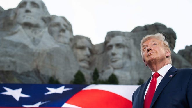President Donald Trump arrives for Independence Day events at Mount Rushmore National Memorial in Keystone, South Dakota, on July 3.