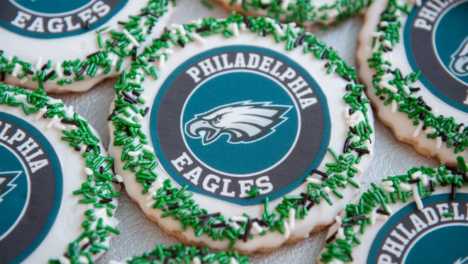 Eagles themed cookies are displayed at JB Bakery in Burlington City.