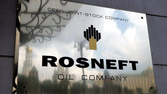 The logo of the 'Rosneft' petroleum company on the