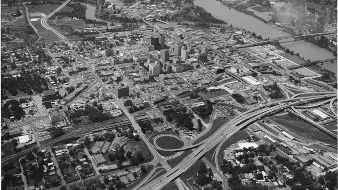 An aerial view of Shreveport in 1960s.
