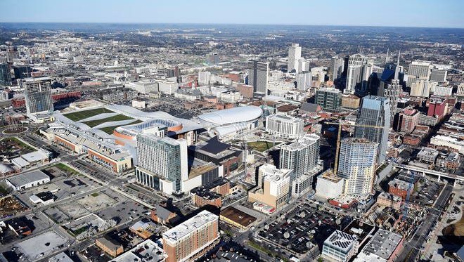 An aerial view of the Nashville skyline