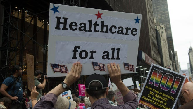 A health care rally in New York on July 29, 2017.