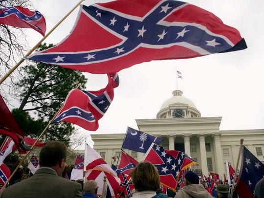 The Tuscaloosa-based League of the South organized a 2000 rally calling on Alabama officials to fly the Confederate battle flag atop the Capitol.