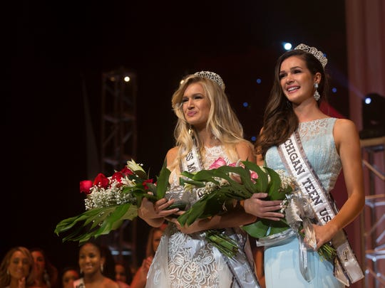 Krista Ferguson and Kenzie Weingartz during the Miss Michigan USA and Teen USA pageant Saturday, Sept. 24, 2016, at McMorran Auditorium in Port Huron.