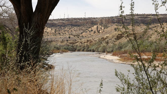 The San Juan River flows alongside the Among the Waters river trail in Farmington on Friday.