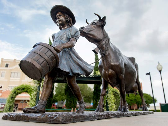 A statue based on the Blue Bell logo is displayed at the Blue Bell Creameries in Brenham, Texas.