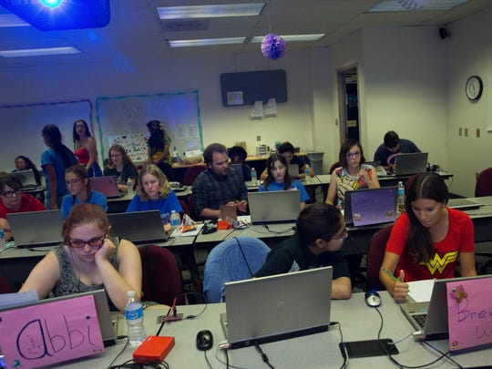 Students fill one of the computer labs during the Young Women in Computing (YWiC) alumni Camp made up of high schoolers from around the area, Wednesday, June 7, 2017 at New Mexico State University.