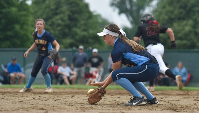 River Valley freshman second baseman Alexis Stevens makes a play during a Division II district championship softball game at Pickerington Central Saturday afternoon. Jonathan Alder won 11-1 in five innings.