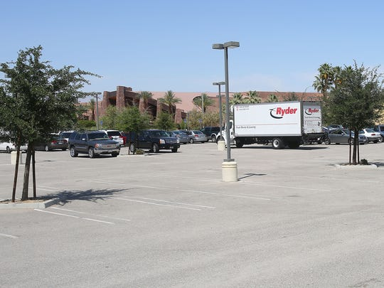 The Palm Springs Convention Center is seen behind the large Prairie Schooner parking lot on the center's southwest corner. The mixed-use Aberdeen project includes the public parking lot at East Andreas Road and North Calle El Segundo, which concerns Palm Springs film festival organizers.